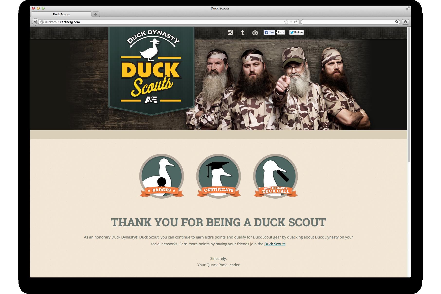 Duck Scouts Microsite